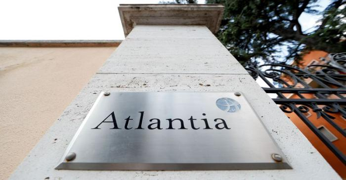 FILE PHOTO: A logo of the Atlantia Group is seen outside its headquarters in Rome