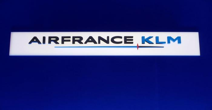 The Air France-KLM company logo is seen during the company's half-year results in Paris