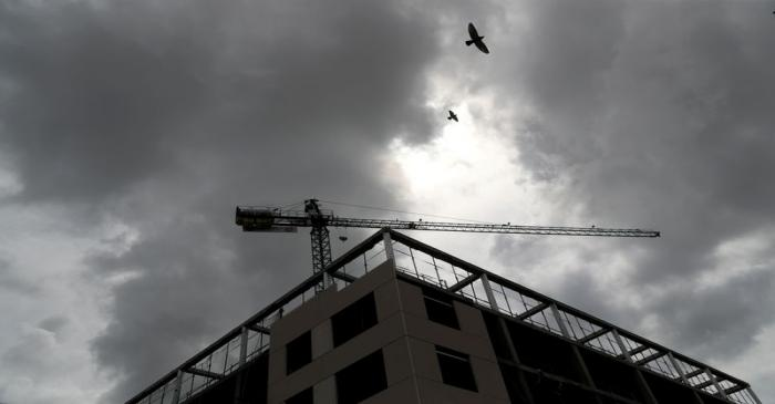 FILE PHOTO: Birds fly over a closed construction site of a residential building during the