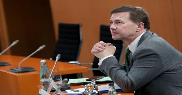 Germany's Government Spokesperson Steffen Seibert folds his hands prior to the weekly cabinet