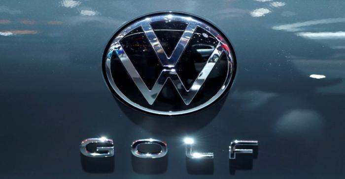 FILE PHOTO: The logo of German carmaker Volkswagen is seen on a new Golf car at Brussels Motor