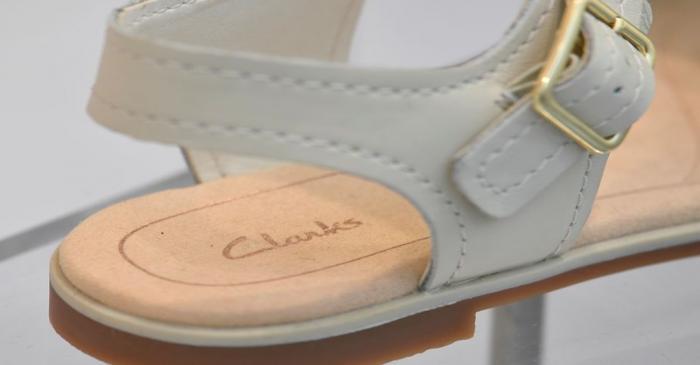 A Clarks shoe is seen in a window display in west London, Britain