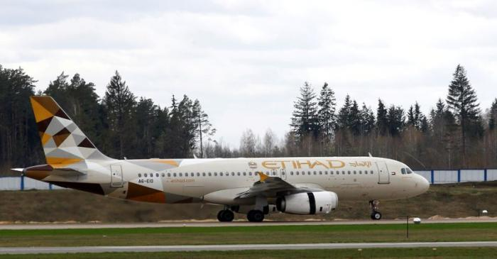 FILE PHOTO: An Etihad Airways Airbus A320-200 at the National Airport Minsk, Belarus