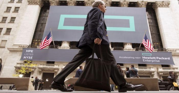 FILE PHOTO: Signs for Hewlett Packard Enterprise Co. cover the facade of the New York Stock