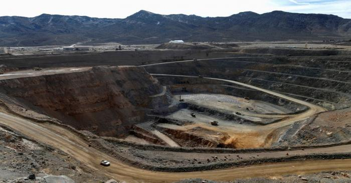 FILE PHOTO: A view of the MP Materials rare earth open-pit mine in Mountain Pass