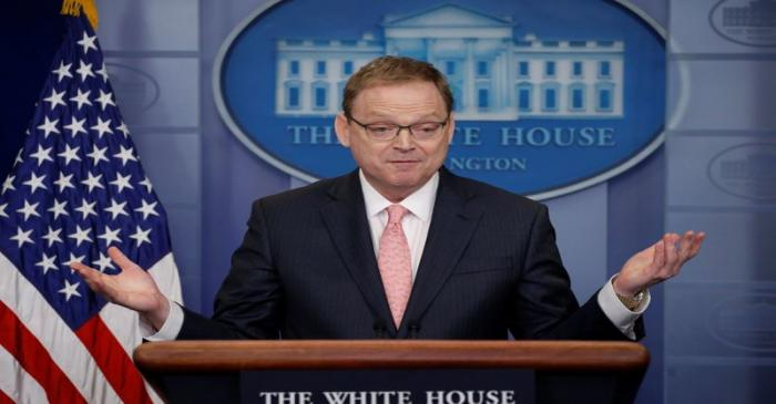 FILE PHOTO:  Hassett addresses reporters during the daily briefing at the White House in