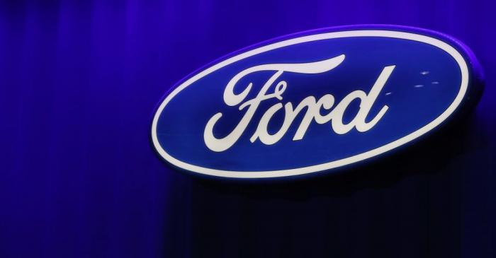 FILE PHOTO: Ford logo is seen at the North American International Auto Show in Detroit,