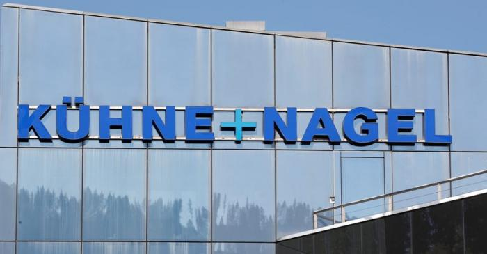 Logo of Swiss logistics group Kuehne + Nagel is seen at its headquarters in Schindellegi