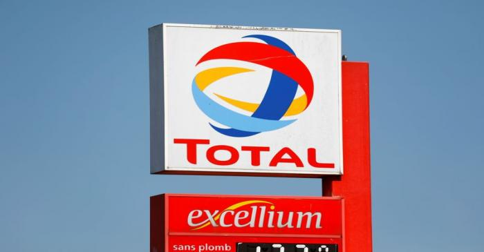 Logo of Total company on a gas station in Montreuil