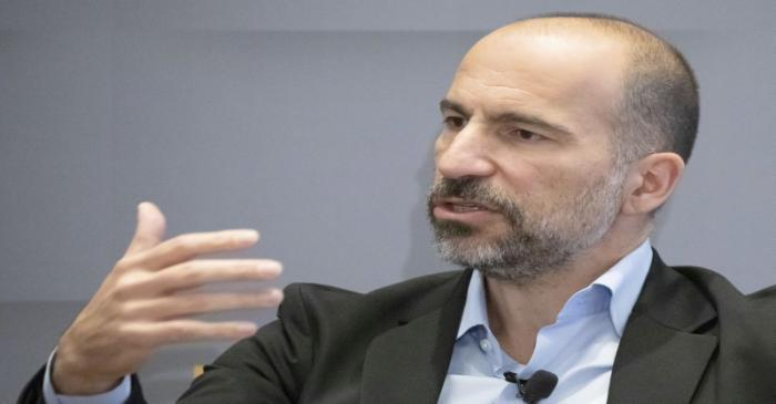Uber CEO Dara Khosrowshahi gestures as he speaks during a meeting with the Economic Club of New