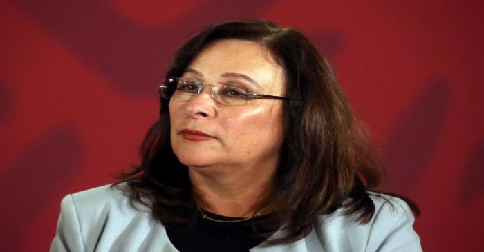 Mexico's Energy Minister Rocio Nahle  attends a news conference at the National Palace in