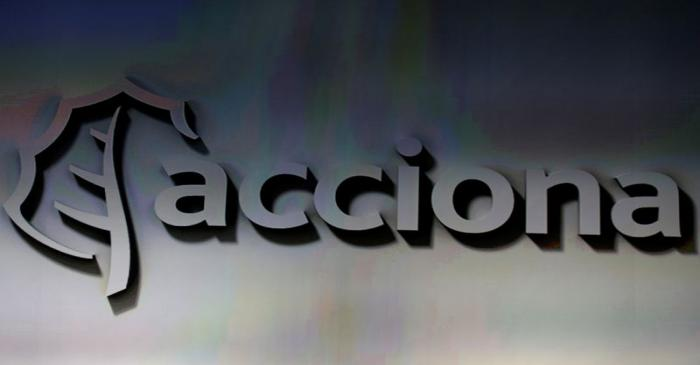 FILE PHOTO: The logo of Spanish energy, construction and services conglomerate Acciona, is