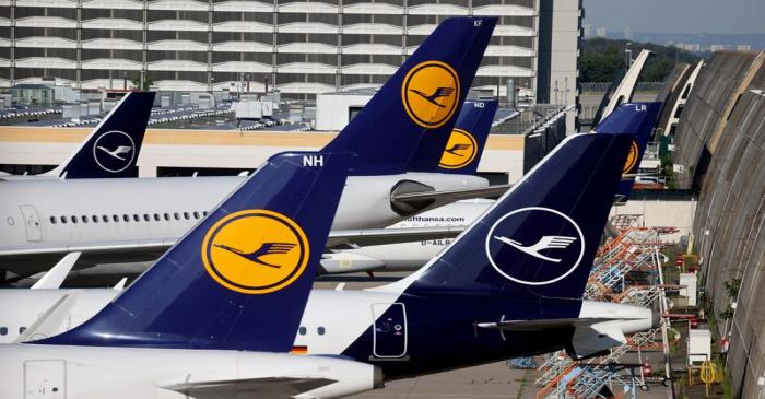 Lufthansa planes are seen parked on the tarmac of Frankfurt Airport