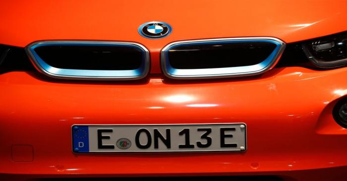 A BMW electric car is seen during the E.ON annual shareholders meeting in Essen