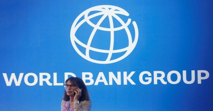 FILE PHOTO: A participant stands near a logo of World Bank at the International Monetary Fund -