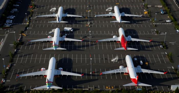 Boeing 737 Max aircraft are parked in a parking lot at Boeing Field in this aerial photo taken