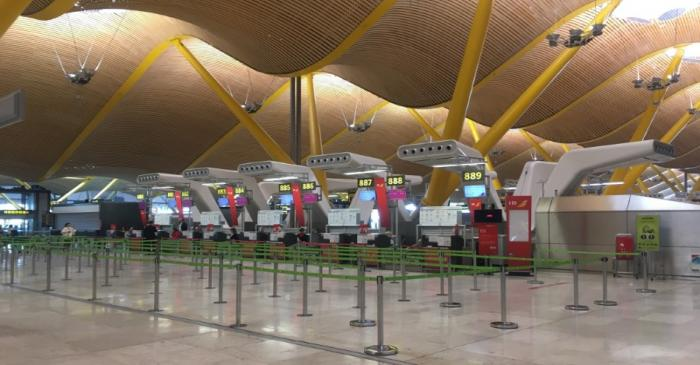 FILE PHOTO:  Empty Iberia check-in counters are seen at Madrid's Adolfo Suarez Barajas Airport