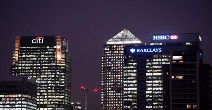 FILE PHOTO: Office blocks of Citi, Barclays, and HSBC banks are seen at dusk in the Canary