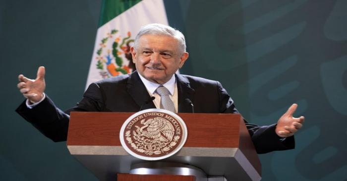 FILE PHOTO: Mexico's President Andres Manuel Lopez Obrador speaks during a news conference in