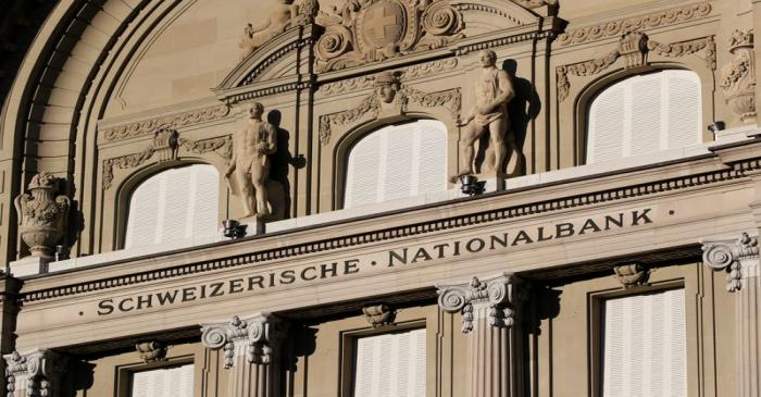 Statues are seen on the building of the Swiss National Bank SNB in Bern