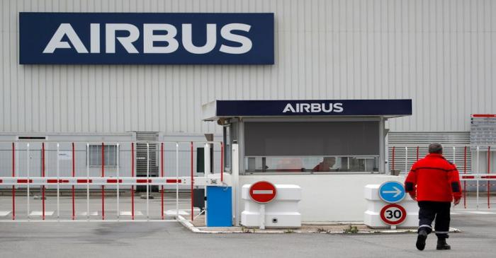 FILE PHOTO: The logo of Airbus is pictured at the entrance of the Airbus facility in Bouguenais