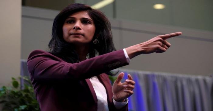 International Monetary Fund Chief Economist Gita Gopinath takes questions at the annual