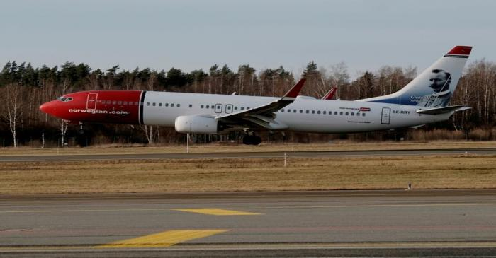 FILE PHOTO: Norwegian Air Sweden Boeing 737-800 plane SE-RRY lands in Riga International