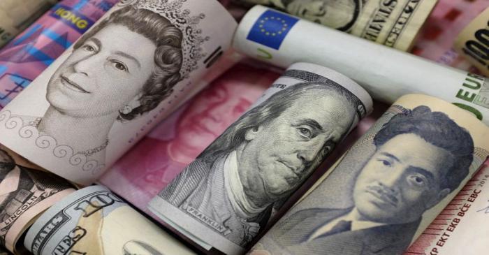 Banknotes of Euro, Hong Kong dollar, U.S. dollar, Japanese yen, GB pound and Chinese 100 yuan