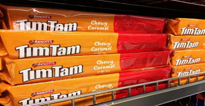 FILE PHOTO: Arnott's Tim Tam biscuits are pictured on a supermarket shelf in Sydney