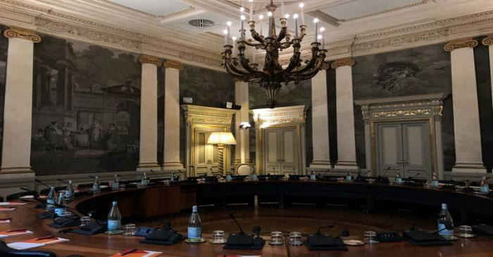 The boardroom of the UBI Banca's Milan offices, where CEO Victor Massiah worked during the