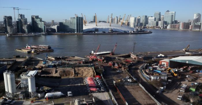 Construction work near the River Thames on the Greenwich Peninsula is seen next to the O2 and
