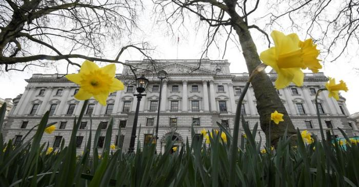 FILE PHOTO: Daffodils are seen flowering near the Treasury building in London, Britain
