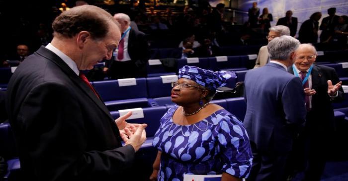 FILE PHOTO: World Bank President David Malpass talks to Ngozi Okonjo-Iweala, former Finance