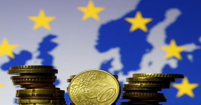 FILE PHOTO: Euro coins are seen in front of displayed flag and map of European Union in this