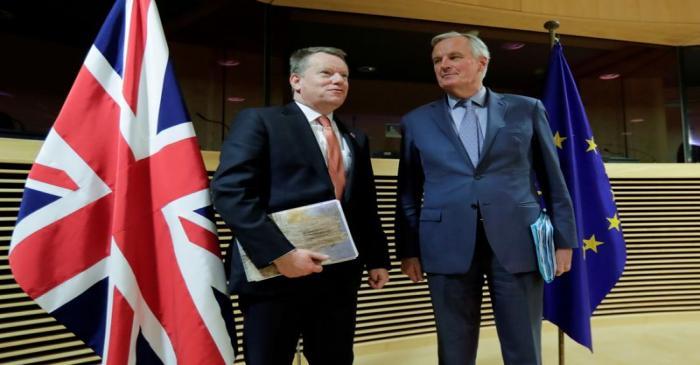FILE PHOTO: European Union chief Brexit negotiator Michel Barnier and British Prime Minister's