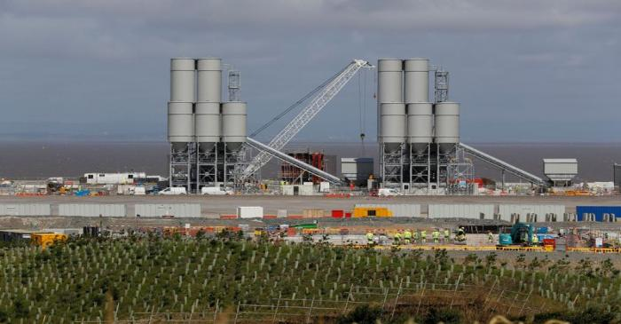 FILE PHOTO: Men work at the Hinkley Point C nuclear power station site near Bridgwater in