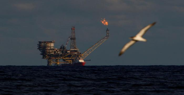 FILE PHOTO: A seagull flies in front of an oil platform in the Bouri Oilfield some 70 nautical