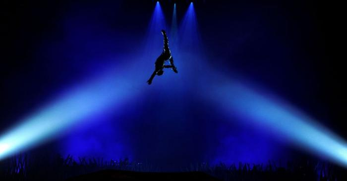 FILE PHOTO: An artist performs during the Cirque du Soleil's Totem show in London's Royal