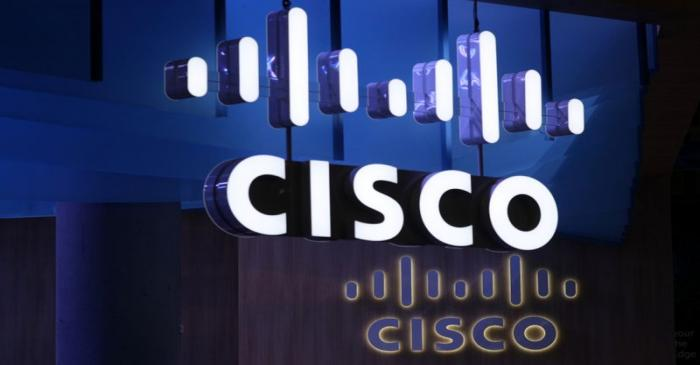 FILE PHOTO: The Cisco logo is seen at their booth at the Mobile World Congress in Barcelona
