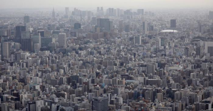FILE PHOTO: Office and residential buildings are seen from the observation deck of Tokyo
