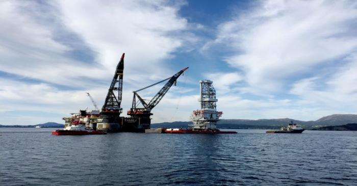 FILE PHOTO: A general view of the drilling platform at Johan Sverdrup field near Stord