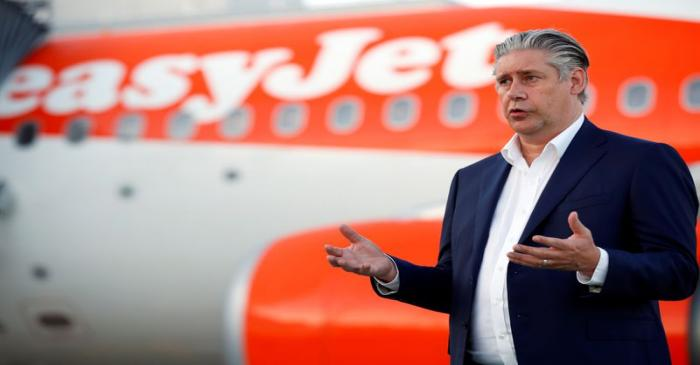 EasyJet CEO Johan Lundgren talks to media at Gatwick Airport, in Gatwick
