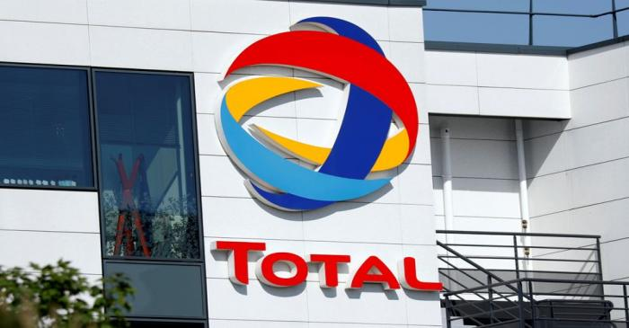 FILE PHOTO: The logo of Total is pictured at the company's headquarters in Rueil-Malmaison near