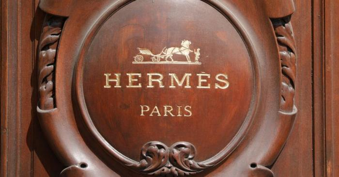 FILE PHOTO: Hermes logo is seen in Paris