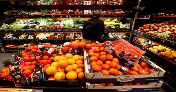 FILE PHOTO: Full shelves with fruits are pictured in a supermarket during the spread of the