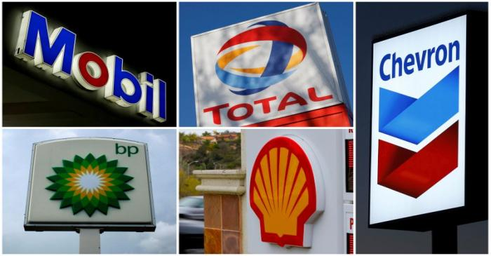 FILE PHOTO - A combination of file photos shows the logos of five of the largest publicly