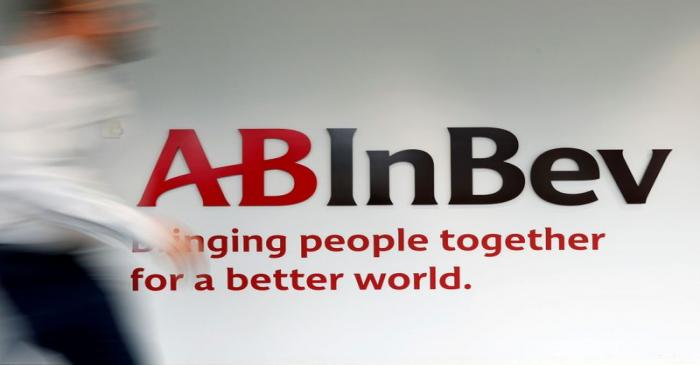 FILE PHOTO: The logo of AB InBev is pictured inside the brewer's headquarters in Leuven