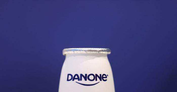 FILE PHOTO: A company logo is seen on a product displayed before French food group Danone's