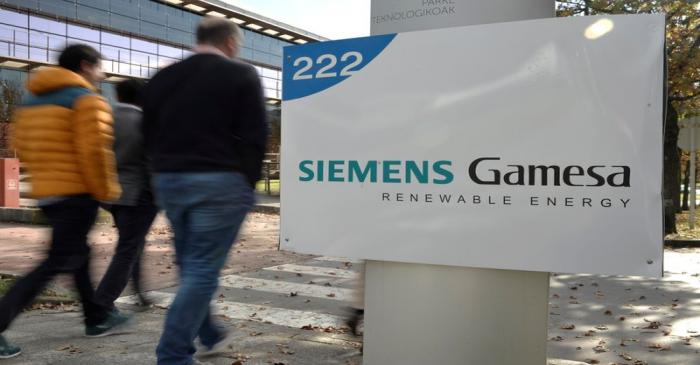 FILE PHOTO: The Siemens Gamesa logo is displayed outside the company headquarters in Zumudio