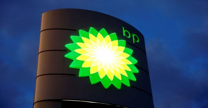 FILE PHOTO: BP signage at a petrol station in Kloten, Switzerland